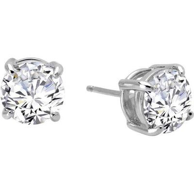Simulated Diamond Stud Earrings in Basket Setting - West Orange Jewelers, Parsippany NJ