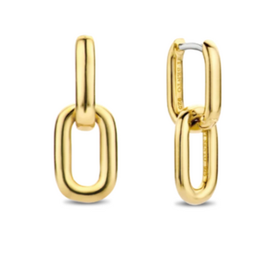 Gold-plated Paperclip Link Earring by TI SENTO - West Orange Jewelers