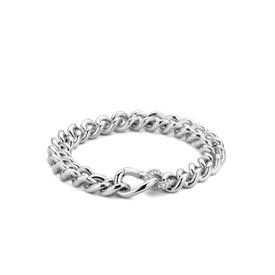 Silver with Zirconia Accent Link Bracelet by TI SENTO - West Orange Jewelers