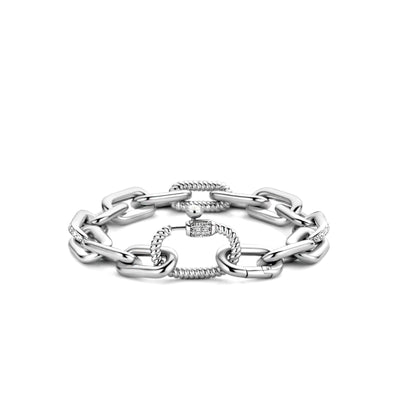 Paperclip Bracelet with Zirconia Accent by TI SENTO - West Orange Jewelers