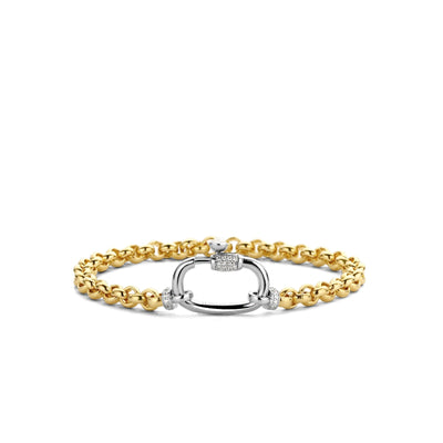 Yellow Rolo Bracelet with Zirconia Accent by TI SENTO - West Orange Jewelers