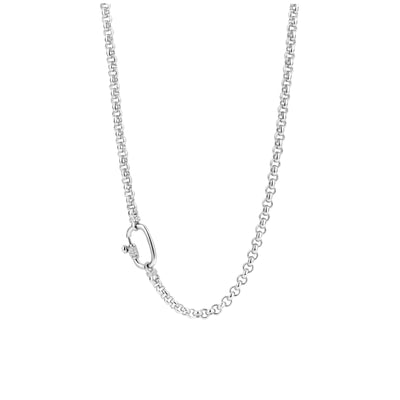 Silver Rolo Necklace with Zirconia Accent by TI SENTO - West Orange Jewelers