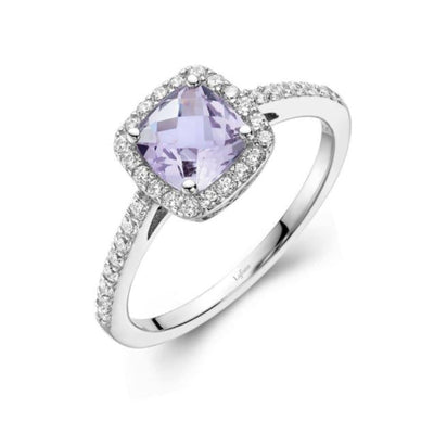 Amethyst Halo Ring by Lafonn - West Orange Jewelers