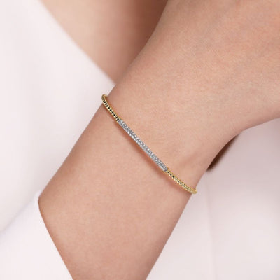 Bujukan Bangle with Diamond Bar by Gabriel&Co. - West Orange Jewelers, Parsippany NJ