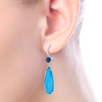 Silver Turquoise Earrings by Gabriel&Co. - West Orange Jewelers, Parsippany NJ