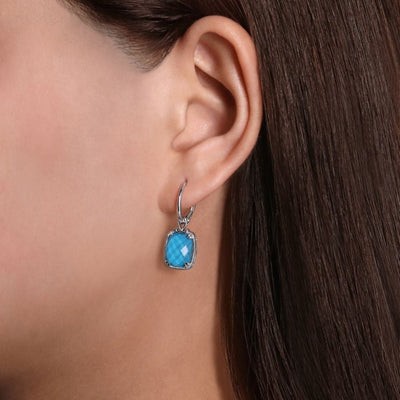 Silver Turquoise Cushion Earrings by Gabriel&Co. - West Orange Jewelers, Parsippany NJ