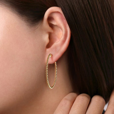 Yellow Gold Hoops by Gabriel&Co. - West Orange Jewelers, Parsippany NJ