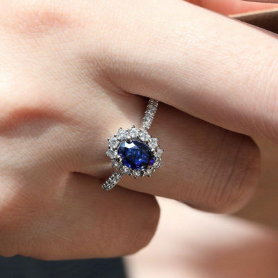 Oval Sapphire Ring by Gabriel&Co. - West Orange Jewelers, Parsippany NJ