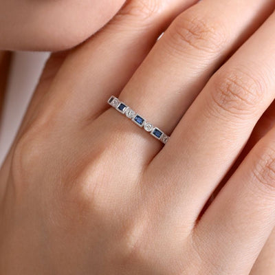 Sapphire Baguette Stackable Ring by Gabriel&Co. - West Orange Jewelers