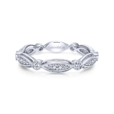 Scalloped Diamond Stackable Ring by Gabriel&Co. - West Orange Jewelers
