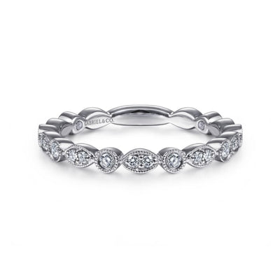 Marquise and Round Station Stackable Ring by Gabriel&Co. - West Orange Jewelers