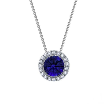 Created Sapphire Halo Necklace by Lafonn - West Orange Jewelers, Parsippany NJ
