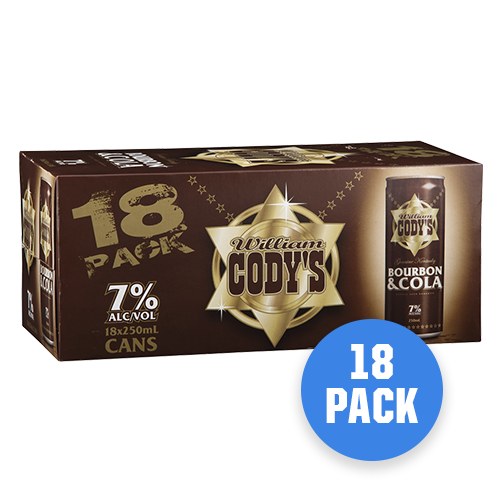 Codys 7% Bourbon & Cola 18 pack - Drinks Trolley Asahi | NZ