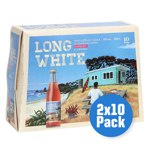 Long White Vodka Raspberry 2 x 10 pack - Drinks Trolley Asahi | NZ