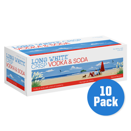 Long White Crisp Vodka Soda Cranberry 10 pack - Drinks Trolley | Asahi NZ