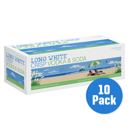 Long White Crisp Vodka Soda Lime 10 pack - Drinks Trolley | Asahi NZ
