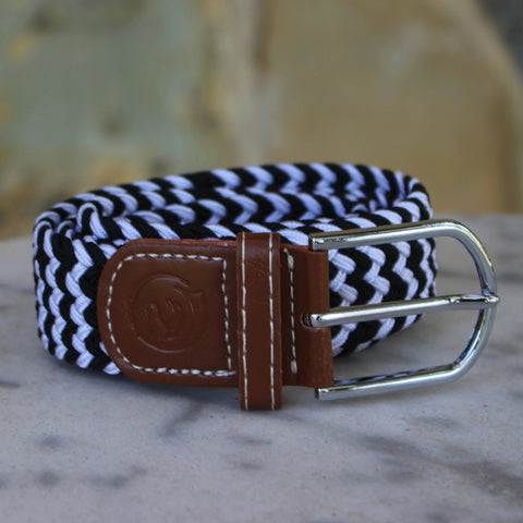Stretch belt - Navy and white fleck
