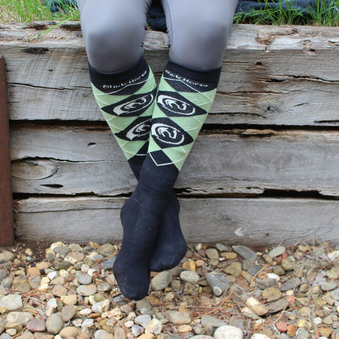 Black Horse cotton / bamboo  knee high socks - BLACK/MINT