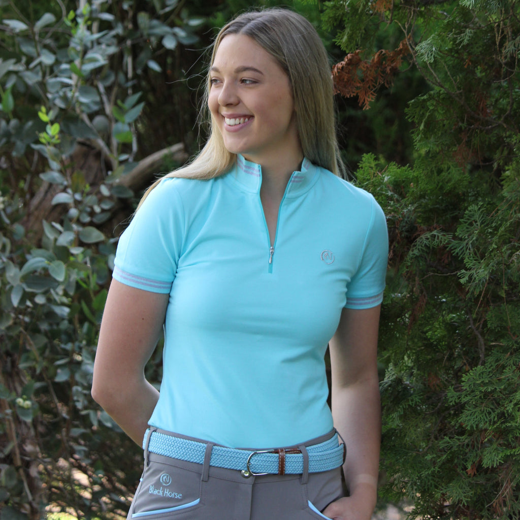 Connie Polo - AQUA / silver stripe trim