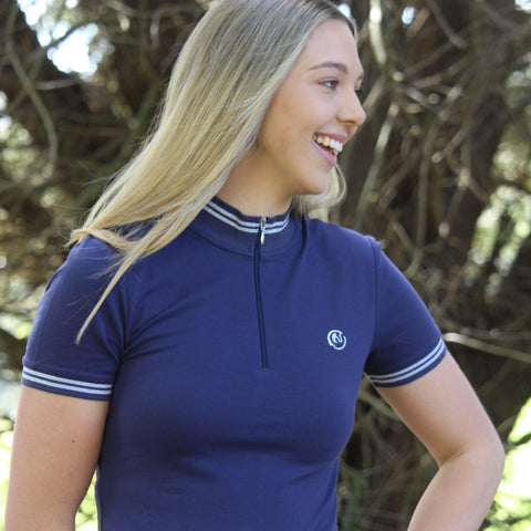 Connie Polo - Navy with Silver Band