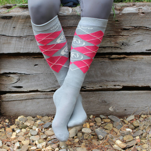 Black Horse cotton / bamboo knee high socks - GREY/PINK