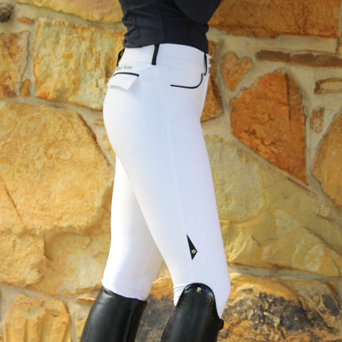 Lily - Lightweight contrast trim breeches - WHITE / navy trim