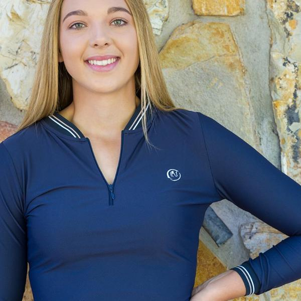 Molly rib trim long sleeve cooling top - NAVY