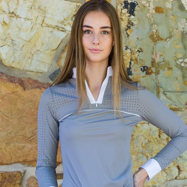 Shannan top - grey with white piping