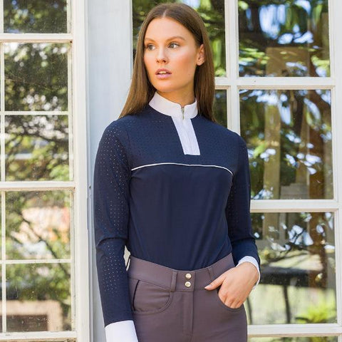 Shannan top navy with white piping trim