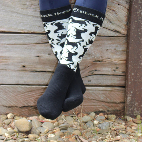 Australian made -Wool Socks (horse design) - BLACK/CREAM