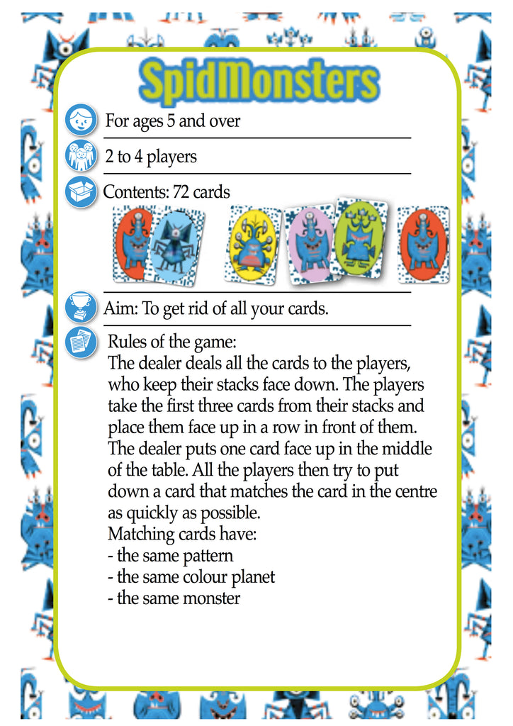 Djeco Spid Monsters Game Rules