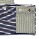 Collar Scarf in Blue and Gray Stripes
