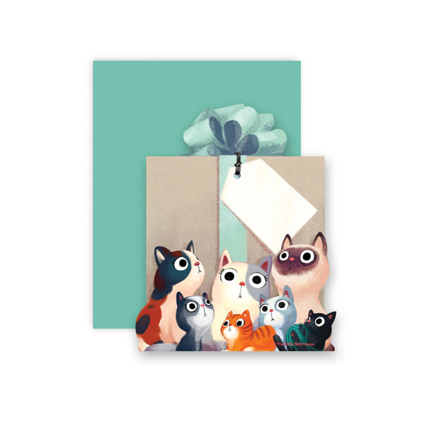 Cats Die Cut Flat Card