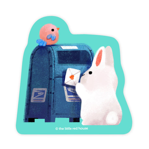 White Bunny Mail Vinyl Sticker