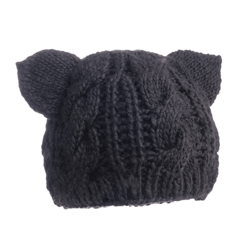 Cable Knit Kitty Hat in Black
