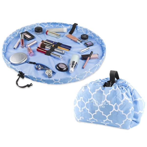 LAY/N/GO Cosmo Accessories Bag in Serene Blue/White Moroccan