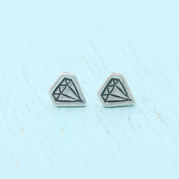 Tiny Illustrated Diamond Earring Studs