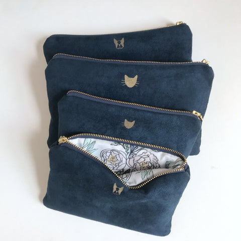 Navy Vegan Suede Bag with Cat Face