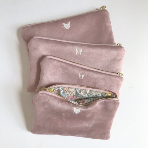 Rose Vegan Suede Bag with Cat Face