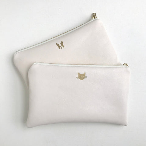 Ivory Vegan Leather Bag with Cat Face