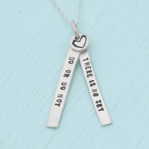 Necklace Quote by Yoda in Sterling Silver
