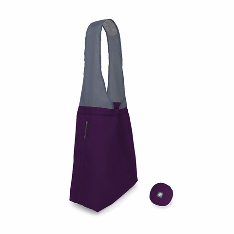 purple flip and tumble reusable shopping bag