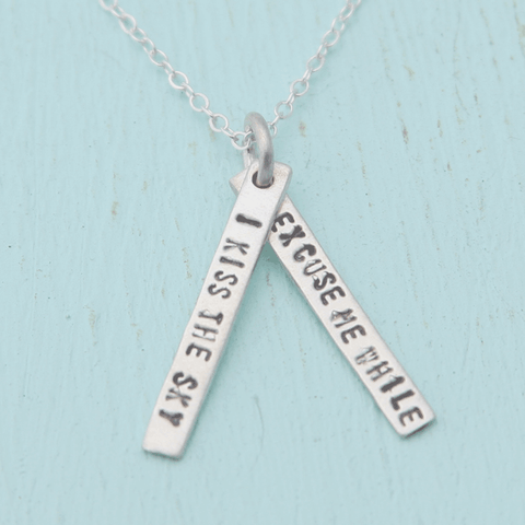 Necklace Quote by Jimi Hendrix in Sterling Silver