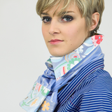 Collar Scarf in Wine and Grey