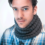 Soft Wool Rib Knit Neckwarmer in Black