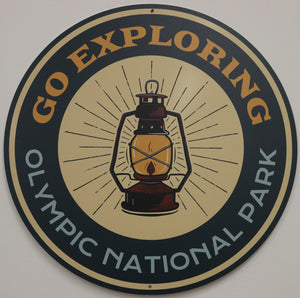 "GO EXPLORING 12"" ROUND ALUMINUM  SIGN"