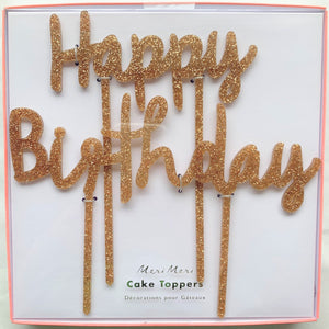Gold Glitter Happy Birthday Acrylic Toppers
