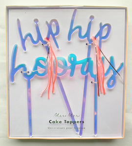 Iridescent Hip Hip Hooray Acrylic Toppers