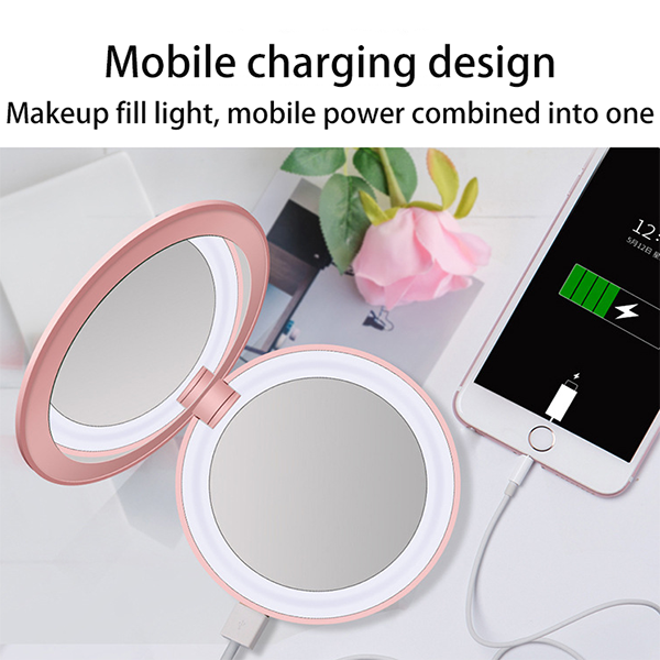 Ihrtrade Portable folding led charger cosmetic mirror with lamp (3 colors)