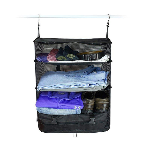 Zippered compartment at the bottom is good for laundry